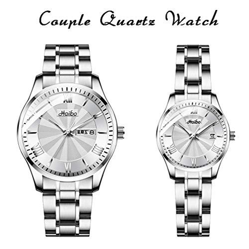 Xinmeite-watch Paar Quarzuhr, Edelstahlarmband, einfache Mode Zifferblatt 30M Leben wasserdicht, mit Mineralglas Spiegel