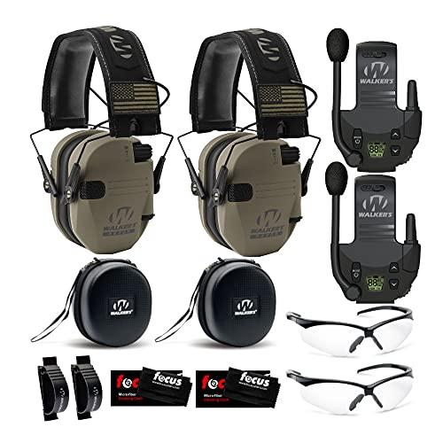 Walker039;s Razor Slim Electronic Hearing Protection ULTIMATE RANGE BUNDLE, Dark Patriot, 2 Pack (12 Items)