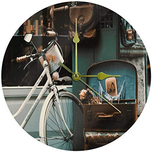 LKLFC Große Wanduhr Küchenuhr Wohnzimmer Schlafzimmer Büro Badezimmer Wanduhr Kinderuhr Retro Fahrrad Vintage Street Shop Batteriebetriebene Nicht tickende ruhige Uhr 25cm