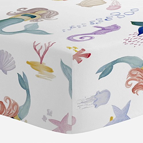 Carousel Designs Watercolor Mermaids Crib Sheet - Organic 100% Cotton Fitted Crib Sheet - Made in The USA