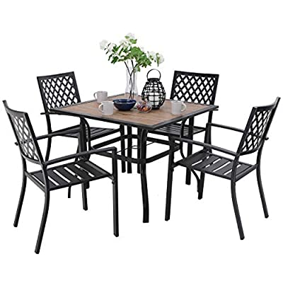 "PHI VILLA Metal Outdoor Patio Dining Chairs and 37""x37"" Wood-Like Square Table Furniture Set of 5"