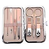 lovefei - Juego de cortaúñas para manicura y pedicura profesional de acero inoxidable + piel de viaje de lujo (rosa dorado)