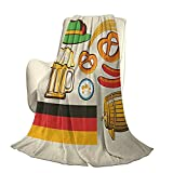 Tedesco soffice peluche morbido confortevole coperta calda simboli Oktoberfest grano salsiccia birra e salatini colorati composizione bavarese aria condizionata di lusso copripiumino W60 x L