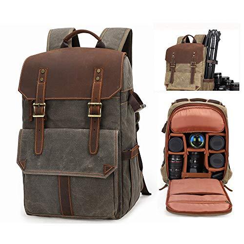 CONRAL Stoßfester professioneller DSLR Kamera/Laptop Reiserucksack, Retro Rucksack aus gewachstem Segeltuch, Diebstahlsicherer Tablet Objektiv Kit Kameraeinsatz Minitasche,Army-Green