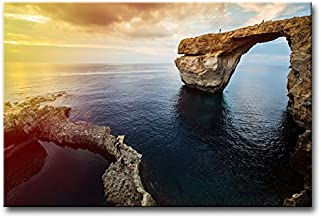 Wall Art Decor Poster Painting On Canvas Print Pictures Azure Window On Gozo Island Dwejra Malta Mediterranean Europe At Dramatic Sunset Seascape Coast Framed Picture For Home Decoration Living Room Artwork