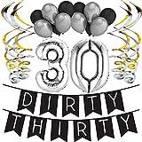 """Paquete para Fiesta de Cumpleaños Número 30 """"Dirty Thirty"""" (Pícaros Treinta) - Paquete con Banderín de Feliz Cumpleaños Negro y Plateado, Globos y Serpentinas - Decoración para Cumpleaños – Trigésimo"""