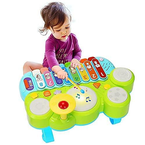 Baby Musical Montessori Toys 3 in 1 Piano Keyboard Xylophone Drum Set Sensory Preschool Learning Educational Developmental Toys Gift for Toddlers 1-3 Year Old Girl Boy Infant Baby Toys 6 9 12 18 Month