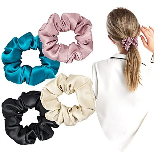 YMHPRIDE Scrunchies de pelo de seda 4 piezas 100% lazos de pelo de seda de morera, 19 Momme Grade 6A Pure Silk HairBobbles Juego de bandas de soporte de cola de caballo para mujeres, niñas