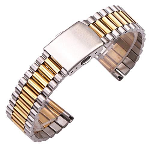 ZZDH Correas Relojes Acero Inoxidable Brazalete de Reloj de Acero Inoxidable Mujeres de Oro Plata de Las Mujeres 12 mm 14 mm 16 mm 18 mm 20 mm de Reloj de Reloj de Metal Correa Doble Cierre