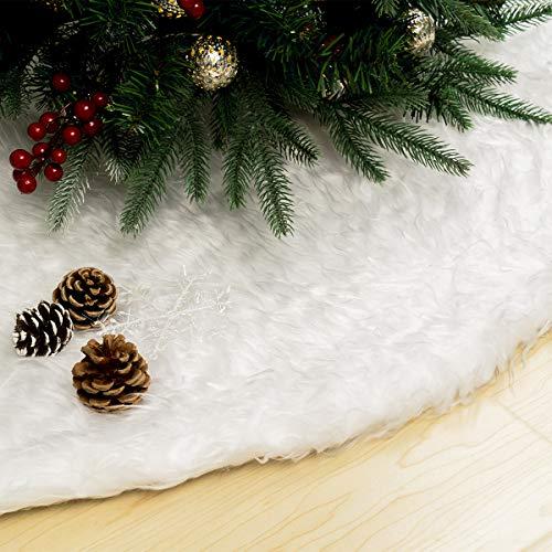 GIGALUMI Jupe de Sapin de Noël, 90cm, Tapis Sapin Noël, Couvre Pied Sapin Noël(Blanc), Décoration Noël Sapin