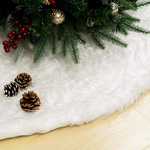 GIGALUMI 48 Inch Christmas Tree Skirts White Faux Fur Tree Mat, Christmas Tree Plush Skirt, Tree Skirt Christmas Decorations for Xmas Holiday Home Party Ornaments