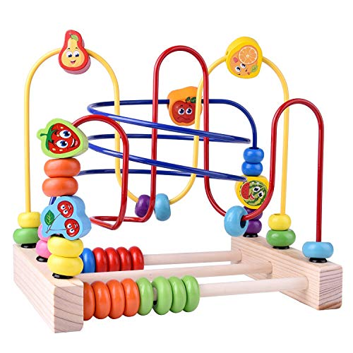 FUN LITTLE TOYS Wooden Toys Beads Maze Roller Coaster Educational Toys for Toddlers Baby Around Circle Bead Skill Improvement Wood Toys Birthday Gift for Boys amp Girls