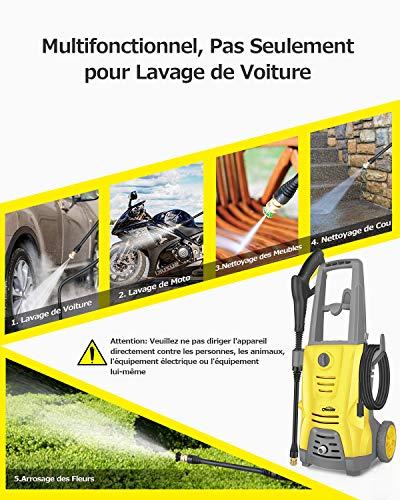 Oasser Nettoyeur Haute Pression Electrique 1400W 125Bars 380L/H Nettoyeur Haute Pression pour...