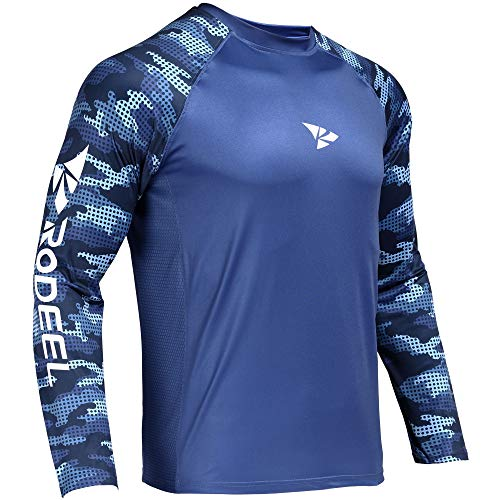 Rodeel Loose-Fit Fishing T-Shirt Vented Long Sleeve Shirt UPF50 Blue-Camouflage Blue Sleeve Size:L
