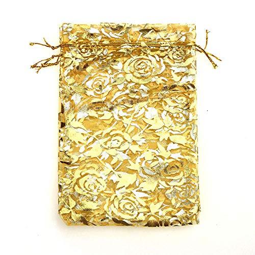 50 pzas / lote bolsa de Navidad de Color rosa dorado para boda bolsas de embalaje de regalo de gasa de Organza dibujables-Oro_13x18CM
