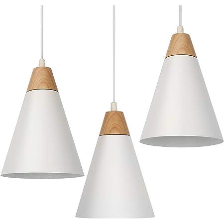 Tomons Lot de 3 Suspensions LED Plafonnier Blanc Vintage Moderne Style pour Cuisine Salon Salle à manger Chambre