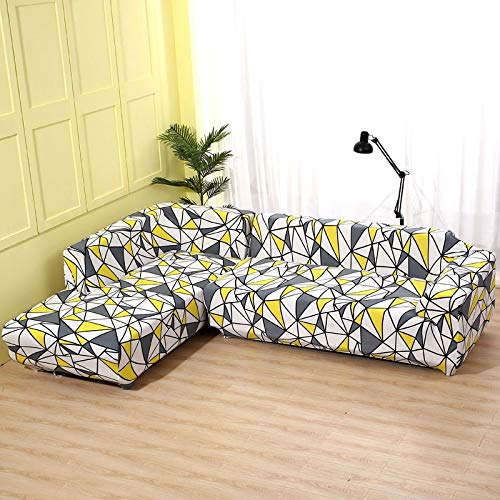 WXQY Funda de sofá geométrica, Funda de Tela de algodón, Funda de sofá, Funda de sofá elástica para Sala de Estar, Funda de sofá Chaise Longue en Forma de L A7 de 4 plazas