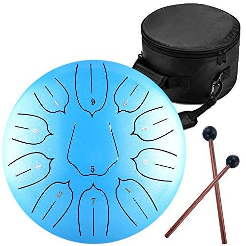Steel Tongue Drum  11 Notes 12 inches  Percussion Instrument Handpan Drum with Bag Music Book Mallets Finger Picks