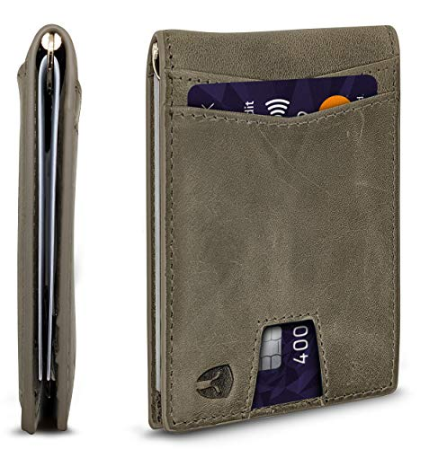 RFID Blocking Slim Minimalist ID Outside Front Pocket Wallet, Money Clip, 9 Slots, Leather (Dark Gray w/ Pull Out Card Slot)