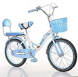 Pliant à Vitesse Variable à vélo - garçons vélos for Enfants et Les Filles de 16 Pouces 18 Pouces 20 bébé Poussette Big Enfants de l'école Primaire Les élèves Pédale vélo Pliant, Bleu, 16 Pouces