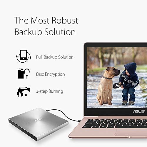 Asus Masterizzatore Esterno ZenDrive U9M TYPE C, Ultra Slim 8x, Supporto M-Disc, compatible con Windows e Mac OS, colore Silver