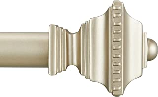 Vimayta 1 inch Curtain Rod Window Treatment with Square Finials, Curtain Rod 72 -144 inches, Decorative Drapery Rod, Silver