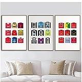artaslf Póster nórdico,camisas clásicas del Manchester United,pintura en lienzo,arte abstracto,decoración moderna para sala de estar,50x70cmx3 sin marco