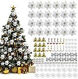 mmtx ornamento di albero di natale, 120 pcs decorazione di albero di natale con fiori di natale artificiali glitterati fiocchi campana fiocchi neve piccole stampelle clip per decorazioni natalizie