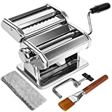 Manual Pasta Maker Machine, 7 Adjustable Thickness Settings Pasta Makers, Wendebao Noodles Maker with 2-in-1 Dough Rollers and Ravioli Cutter, Perfect for Spaghetti, Dumpling Skins| Brush and Cloth