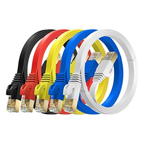MutecPower 2m 5 Pack Ultra FLACHES Cat 7 Ethernet Netzwerkkabel mit RJ45 Steckern - SFTP - 600 MHz - 2 Meter rot/gelb/blau/schwarz/weiße Kabel mit Kabelbindern und Clips