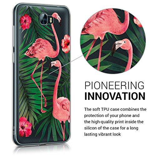kwmobile Huawei Y6 II Compact (2016) Hülle - Handyhülle für Huawei Y6 II Compact (2016) - Handy Case in Flamingo Palmen Design Rosa Grün Transparent - 2