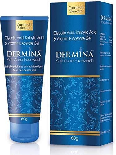 Dermina Face wash For Acne,Blackheads,Darks Spot Reduction & Face eruption 60ml