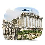 The Smuggled Goods Partenón Atenas Grecia 3D Pintado a Mano Imán de Resina Santorini Acrópolis de Atenas Meteora Templo de Olimpia Zeus Mycenae Antigua Ágora de Atenas Vai Mykonos