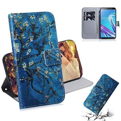 Byr883onJa Funda para smartphone Asus Zenfone Max Pro (M1) ZB601KL, diseño de flores de albaricoque, con tarjetero, tarjetero y cartera