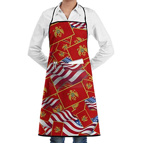 dfhfdsh Schürze Kochschürze Montenegro Flag with America Flag Bib Apron Chef Apron with Pockets for Men and Women Prossional Gardening Gifts