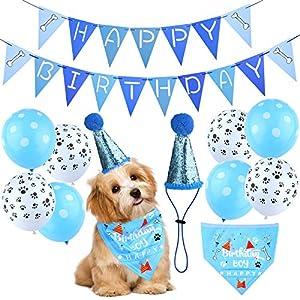 ADXCO 11 Pack Dog Birthday Hat Bandana Pet Birthday Party Supplies Dog Birthday Bandana Hat Banner Set Cat and Dog Celebration Birthday Decoration