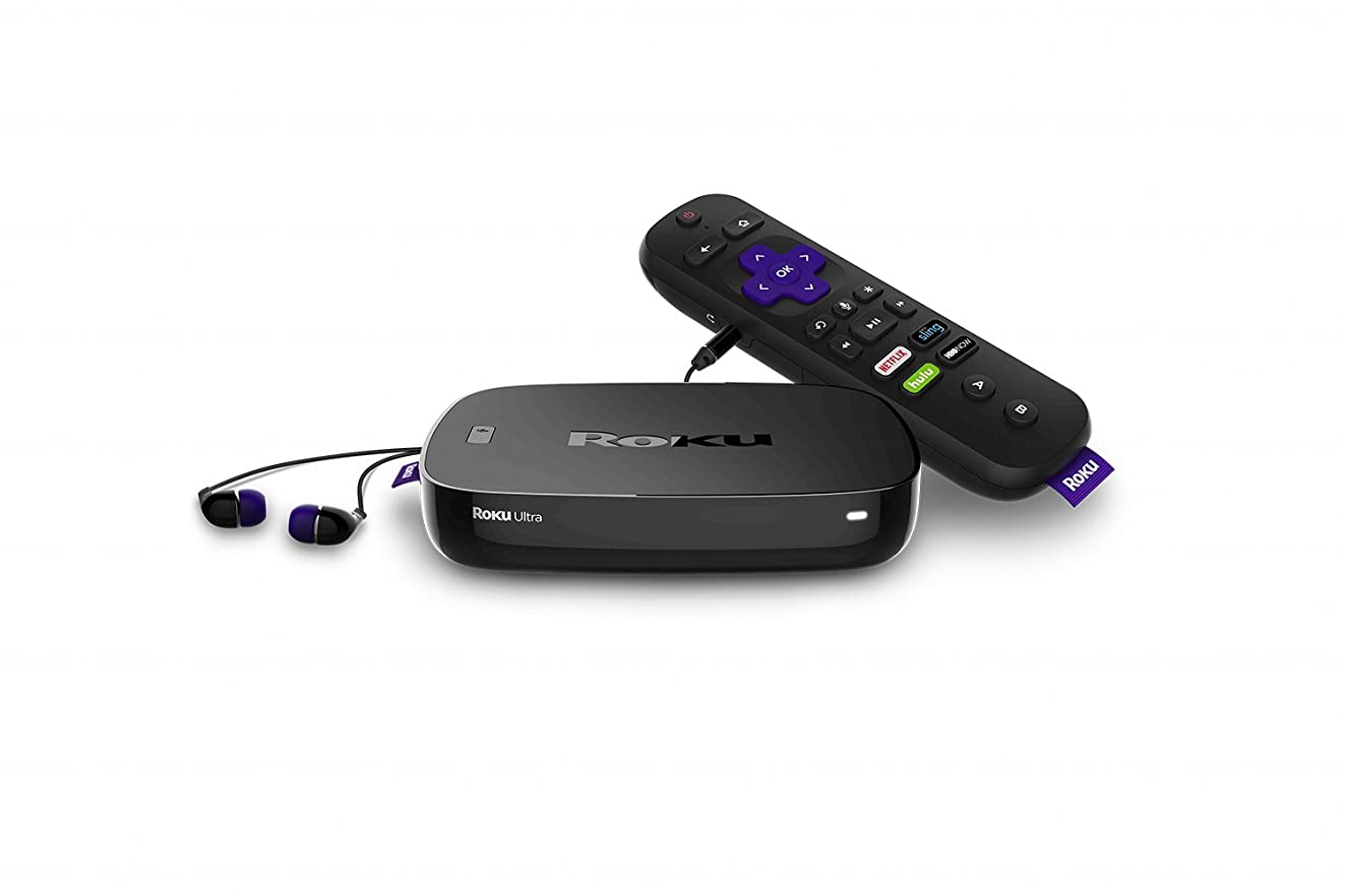 Roku Ultra   4K/HDR/HD Streaming Player with Enhanced Remote (Voice, Remote Finder, Headphone Jack, TV Power and Volume), Ethernet, MicroSD and USB