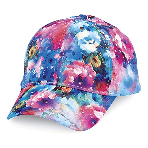 PGI Traders Watercolor Floral Print Baseball Cap | All-Over Print | Fashion Accessory | 100% Polyester | Adjusts to Fit Most