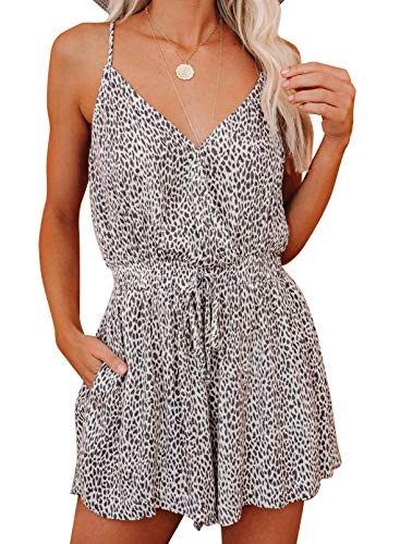 Dokotoo Women's Casual Leopard Print Spaghetti Straps Sleeveless Jumpsuit Sexy Deep V Neck Adjustable Back Self Tie Elastic Waistband Rompers and Jumpsuits for Women Small