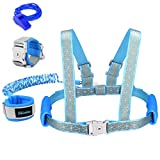 Blisstime 2 in 1 Reflective Toddler Leash -Anti Lost Wrist Link for Toddlers -Toddler Harness,Baby Leash,Leash for Toddlers,Wrist Leashes,Child Leashes for Toddlers,Not Easy to Open Without Key (Blue)