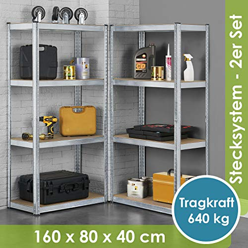 Juskys 2er-Set Lagerregal Easy 2X 160x80x40cm | 640kg Traglast | 8 Böden | Metall Schwerlastregal Kellerregal Steckregal Regal Regalsystem Metallregal