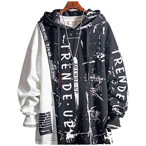 XIAOYAO Herren Kapuzenpullover Sweatjacke Pullover Hoodie Sweatshirt (Schwarz, L)