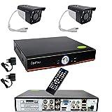 Kit Videosorveglianza Esterno, Sistema di Sorveglianza Cloud DVR AHD 4 Canali + 2x Telecamere AHD + 1x HDD 500GB, Registrazione 24/7, H264, Accesso da remoto
