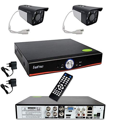 Kit Videosorveglianza Esterno, Sistema di Sorveglianza Cloud DVR AHD 4 Canali + 2x Telecamere AHD + 1x HDD 500GB, Registrazione 24 7, H264, Accesso da remoto