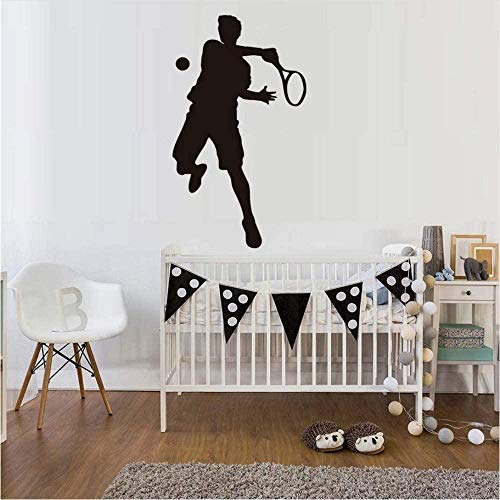 Muursticker behang sticker 43 x 75 cm kinderen slaapkamer hoofdeinde tennis sport speler Pvc zwart Home Decor Tennisspel Art Silhouet Decals