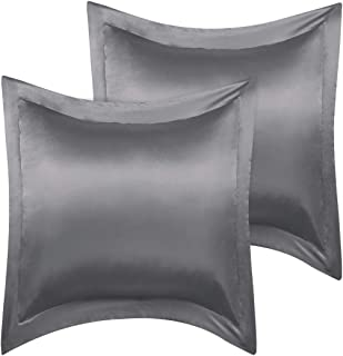 PiccoCasa European Pillow Shams, Set of 2, 26x26inch Satin Pillowcase for Hair and Skin, Silky Oxford Pillow Cases Covers with Envelope Closure, Deep Grey
