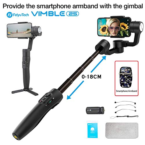Feiyu Tech Vimble 2s Extendable Handheld 3-Axis Gimbal Stabilizer for Smartphone i+(Tripod stand and smartphone armbrand)