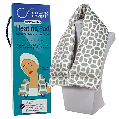 Microwavable Heating Pad Wrap for Neck, Shoulder, and Back Pain | Filled with Clay & Charcoal Beads | Lightly Scented with Lavender | Washable Minky Cover | Grey & White Coin