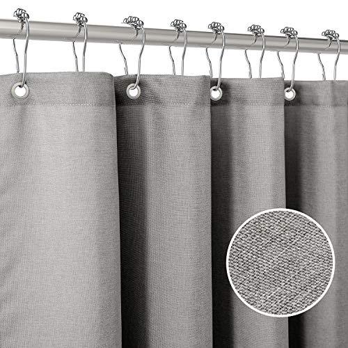 Duschvorhang Leinen mit Metall Duschvorhangringe Stoff Textil Badewannenvorhang Anti Schimmel Bad Vorhang Set Wasserdicht Badewanne Vorhang Schwerer Shower Curtain Badezimmer - 182 x 182cm (Grau)