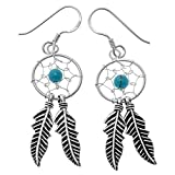 YACQ 925 Sterling Silver Dream Catcher Feather Turquoise Net Custom Drop Dangle Earrings Gift Women